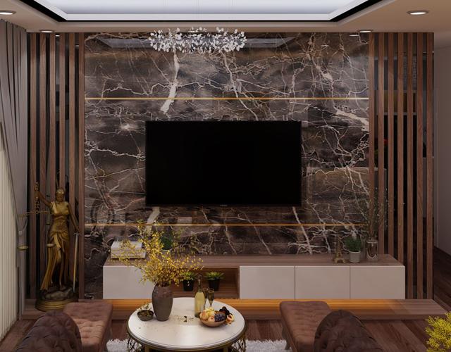 Mẫu thi công tấm nhựa giảđá trang trí phòng khách đẹp nhất năm 2021 - Ảnh 9